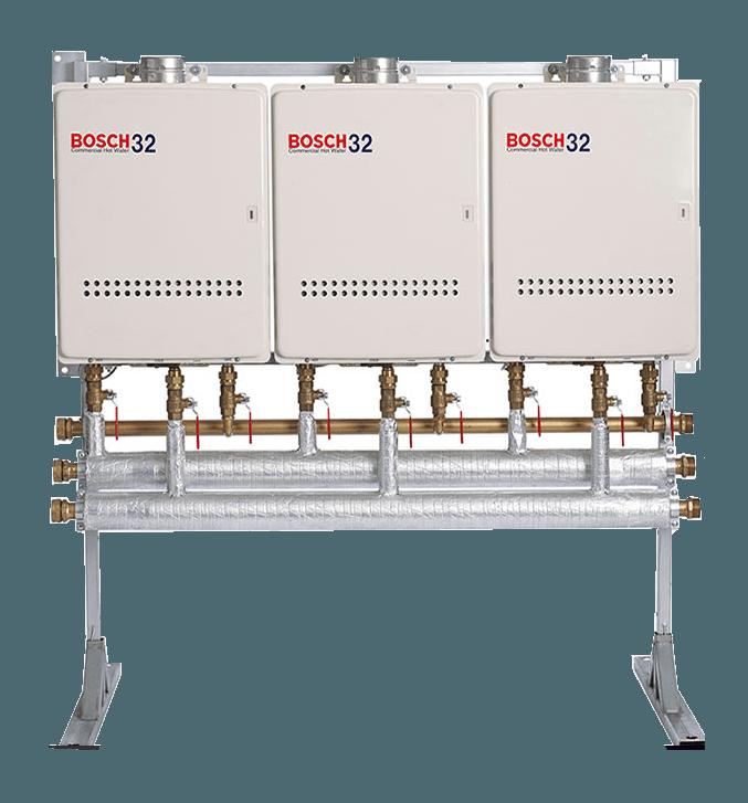 Wall Mounted Bosch Manifold Kit 2 x 32L LPG 1